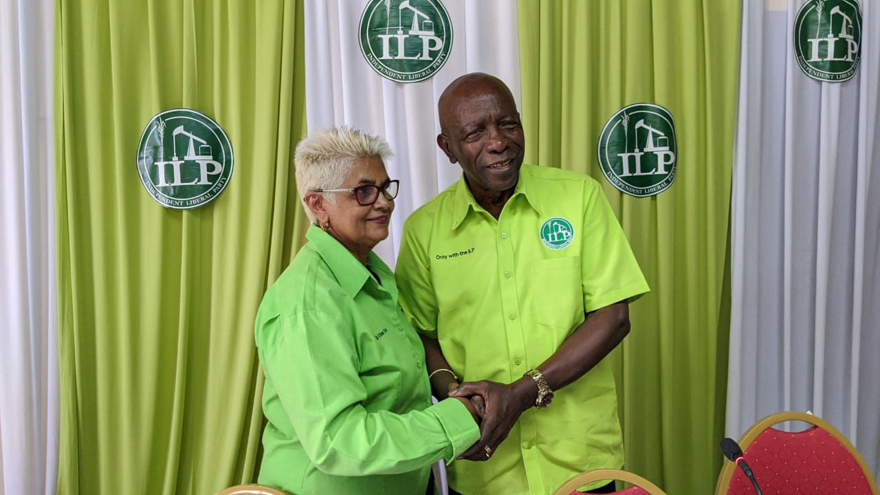 ILP candidate for Lopinot/Bon Air West, Jack Warner (right) and Political Leader of the ILP, Rekha Ramjit (left)