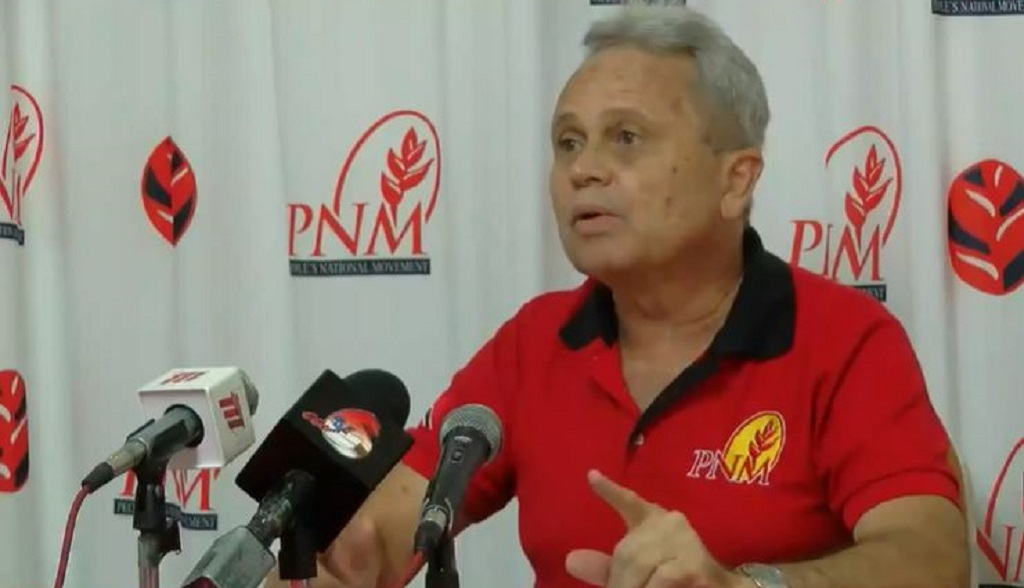 Pictured: PNM Chairman Colm Imbert speaks at a media conference on August 13, 2020.