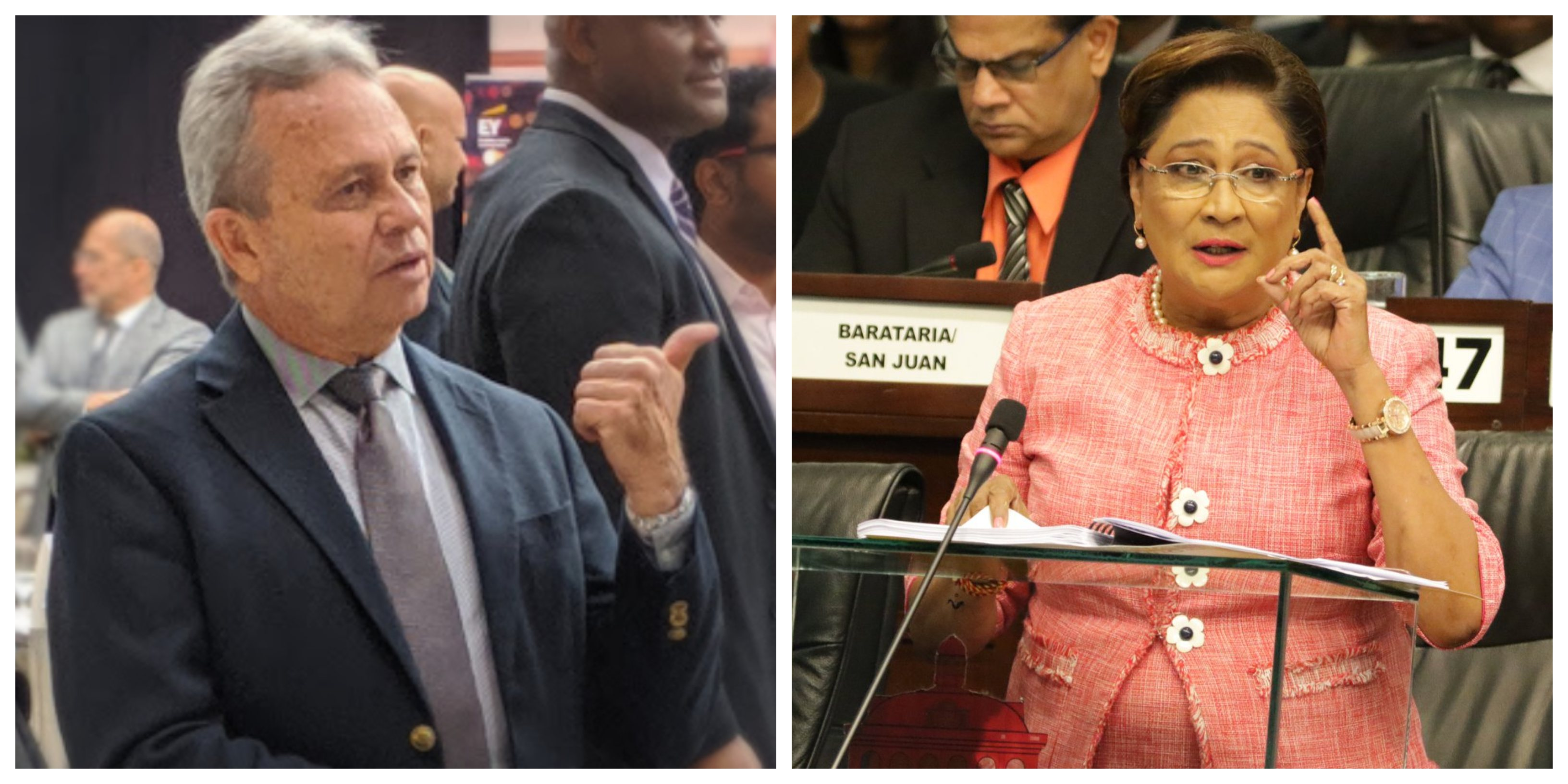 The PNM's Colm Imbert (left) and the UNC's Kamla Persad Bissessar.
