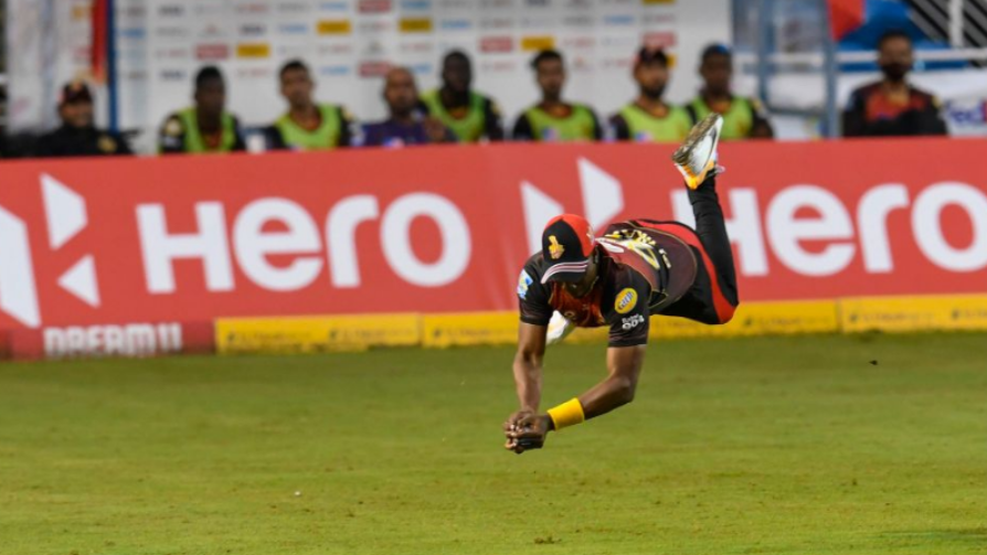Dwayne Bravo pulls off a brilliant catch in the Trinbago Knight Riders match against the Jamaica Tallawahs in Match 6 of the Hero Caribbean Premier League at Brian Lara Cricket Academy on August 20, 2020 in Tarouba, Trinidad And Tobago. (Photo by Randy Brooks - CPL T20/CPL T20 via Getty Images)