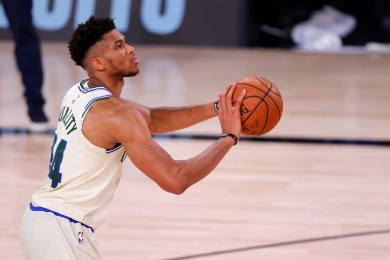 Giannis Antetokounmpo des Bucks de Milwaukee lors du match de NBA face aux Rockets de Houston, à Lake Buena Vista, le 2 août 2020