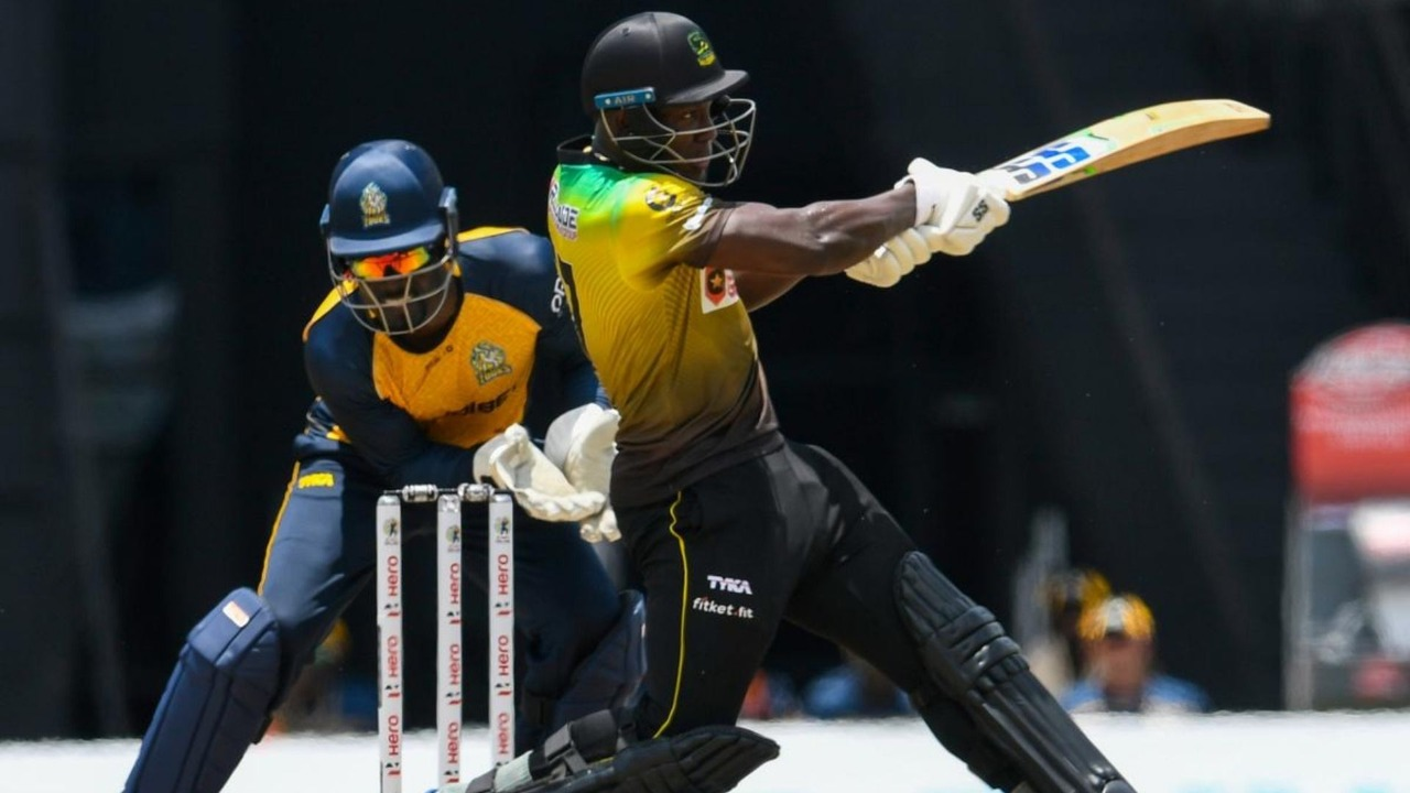 Rovman Powell (R) of Jamaica Tallawahs pulls a four in front of Andre Fletcher (L) of St Lucia Zouks, during the Hero Caribbean Premier League match 3 between Jamaica Tallawahs  and  St Lucia Zouks at Brian Lara Cricket Academy on August 19, 2020 in Tarouba, Trinidad And Tobago. (Photo by Randy Brooks - CPL T20/CPL T20 via Getty Images)