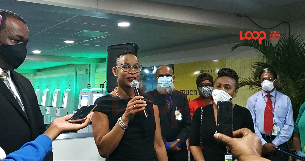 Tourism Minister Senator Lisa Cummins at the Grantley Adams International Airport (GAIA).