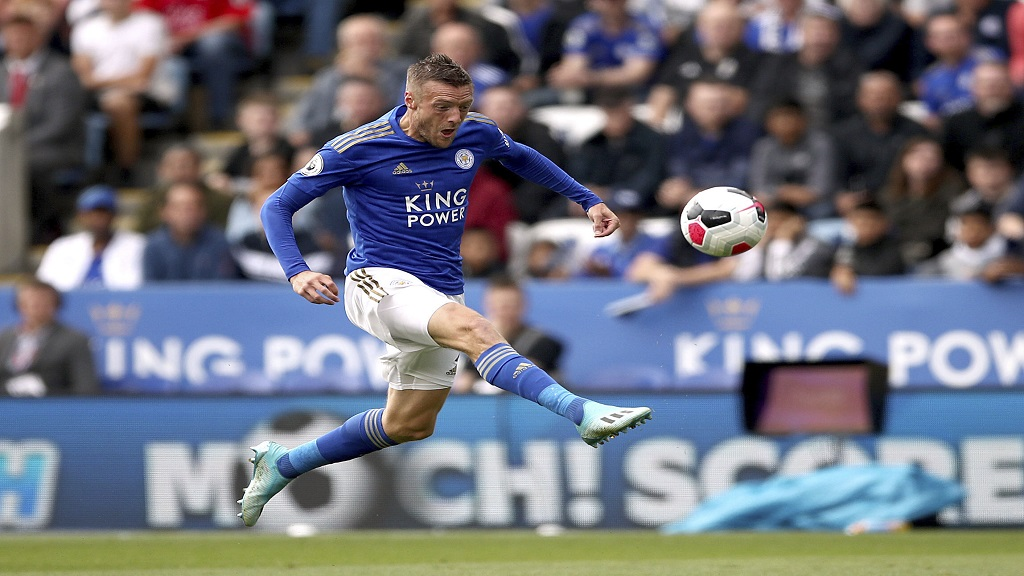 Leicester City's Jamie Vardy scores against Bournemouth during the English Premier League football match at the King Power Stadium, Leicester, England, Saturday Aug. 31, 2019. (Tim Goode/PA via AP).