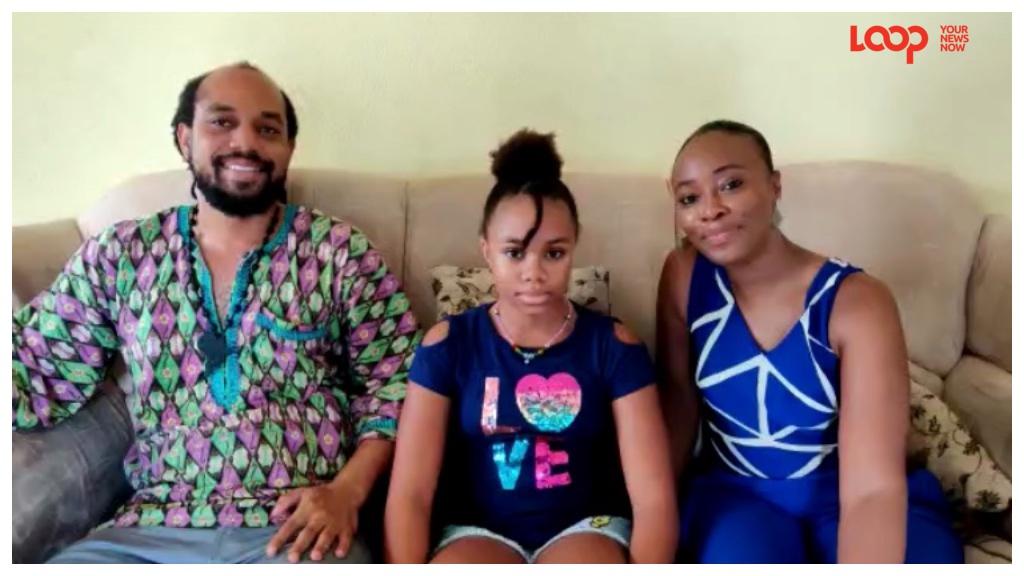 Barbadian swimmer, Ayobami Adanya Leon-Barker (middle) with her parents Ekundayo Leon-Barker (left) and LaTeisha Leon-Barker (right)