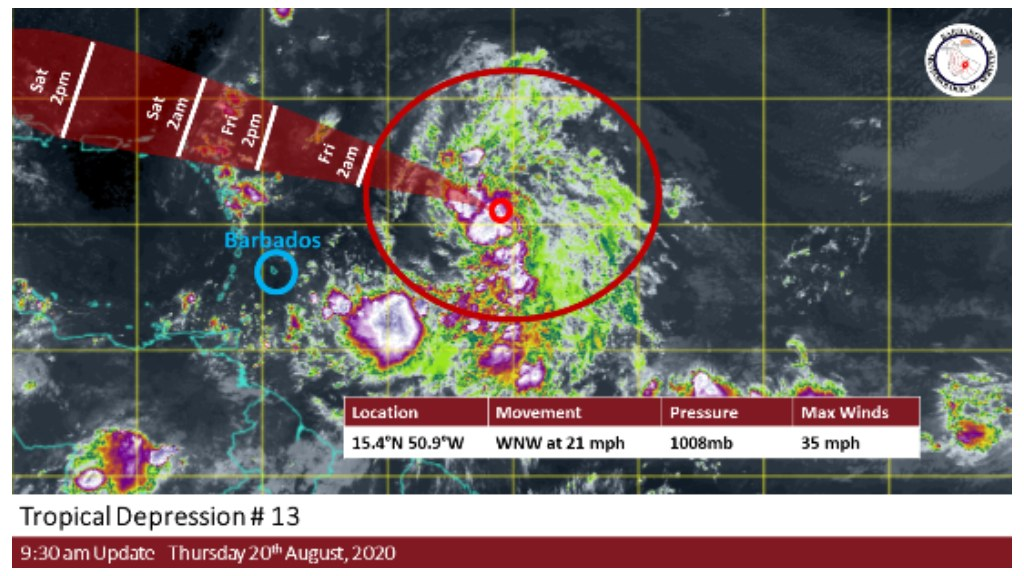Tropical Depression 13 set to pass North of Barbados