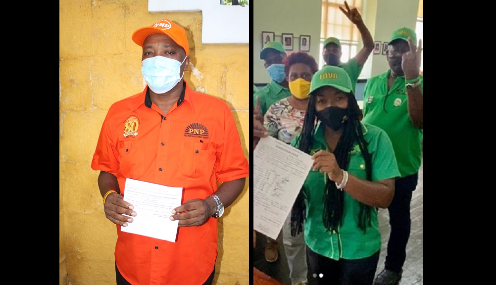 The PNP's Victor Wright and the JLP's Tova Hamilton show off their nomination papers on Tuesday.