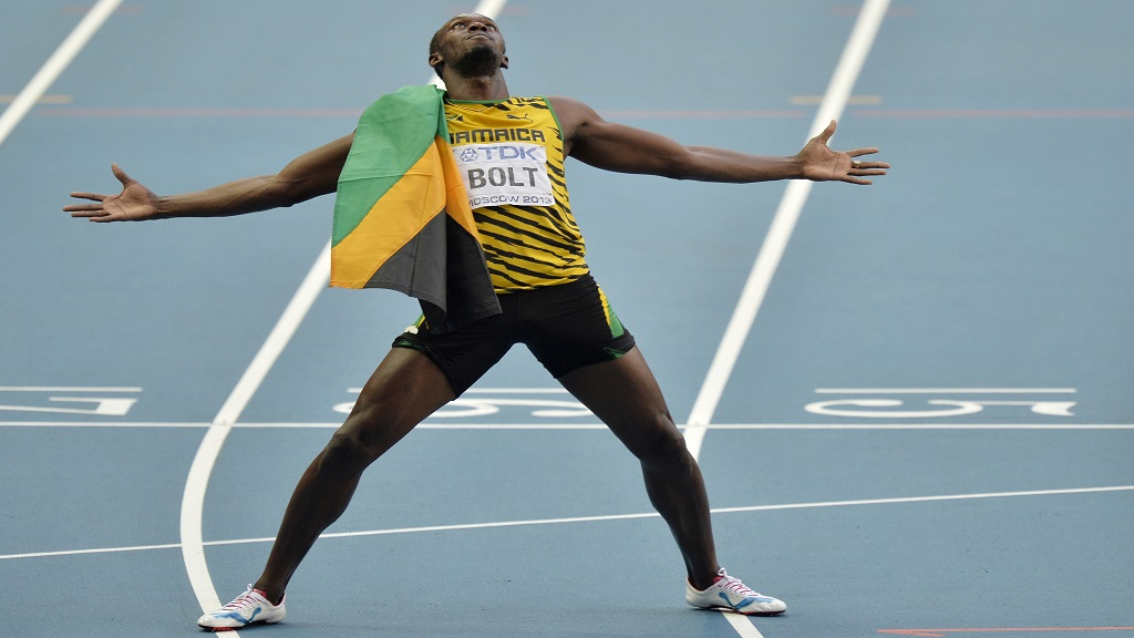 Usain Bolt celebrates after one of his many victories during his decorated athletics career.