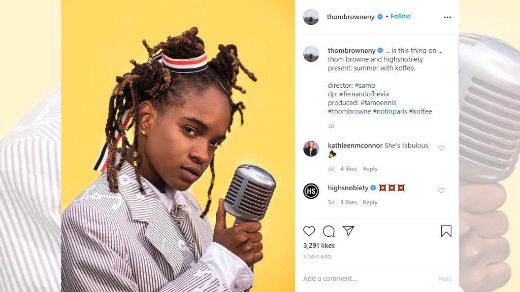 Reggae recording artiste Koffee in performance. (Photo: via Instagram/@thombrowneny)