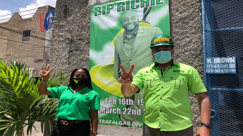 Jamaica Labour Party (JLP) candidate for South East St Andrew, Kari Douglas with Prime Minister and JLP Andrew Holness in the constituency on Wednesday.