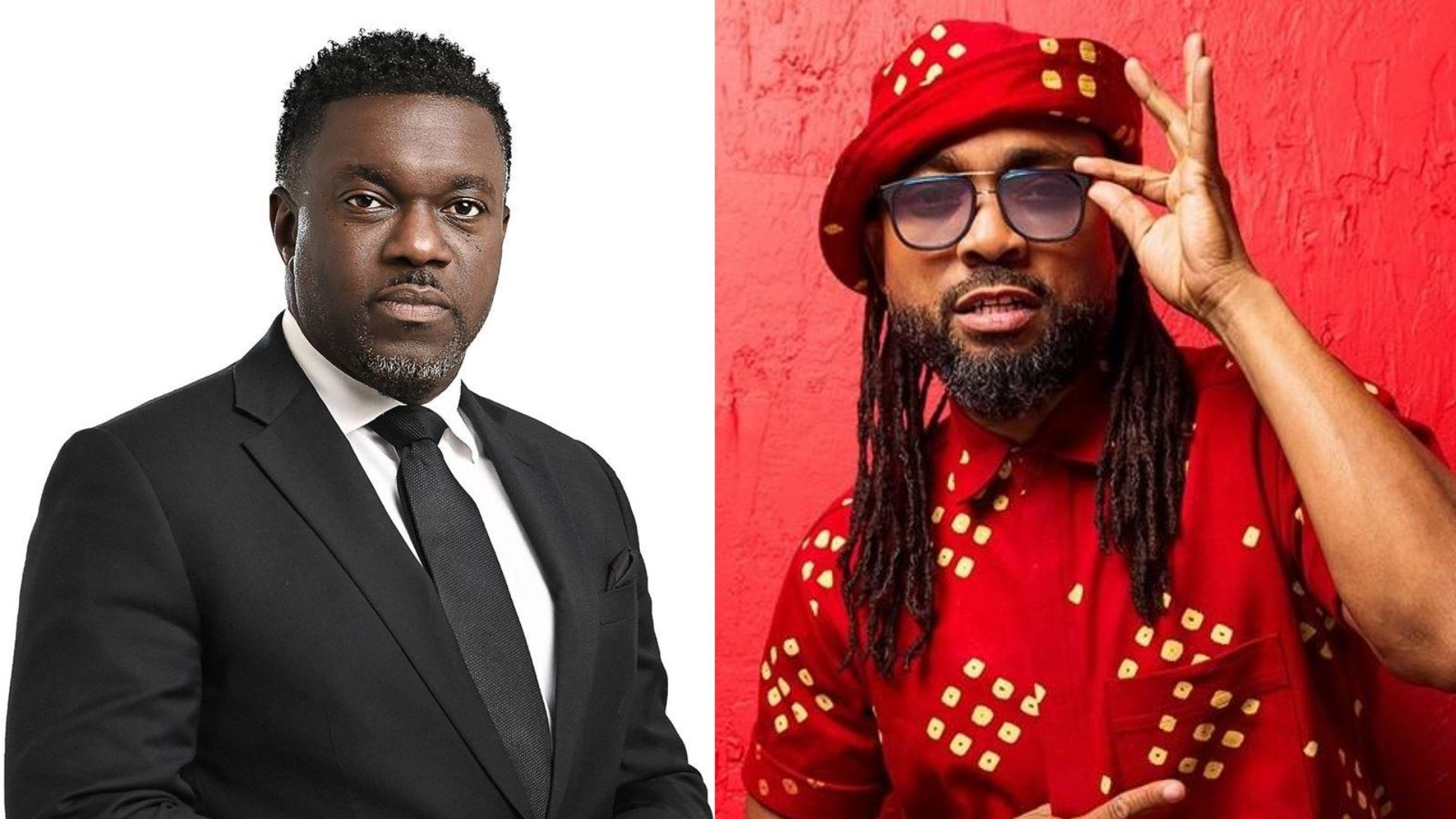 Political leader of the Progressive Democratic Party Watson Duke (L) is under fire from soca king Machel Montano (R) for unauthorised use of the song 'Busshead'