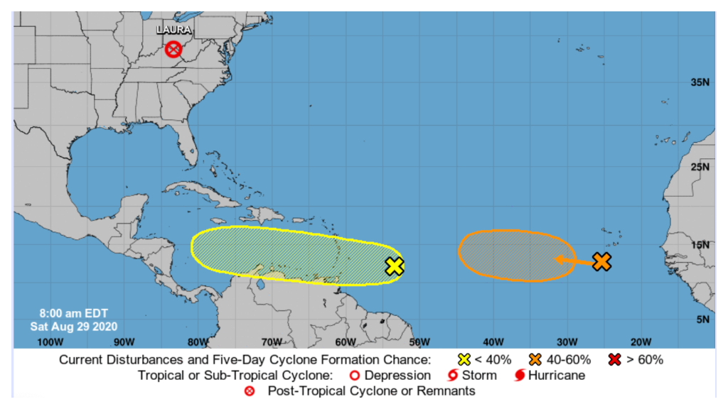 NOAA and US NHC 5-day forecast for the Atlantic Ocean.
