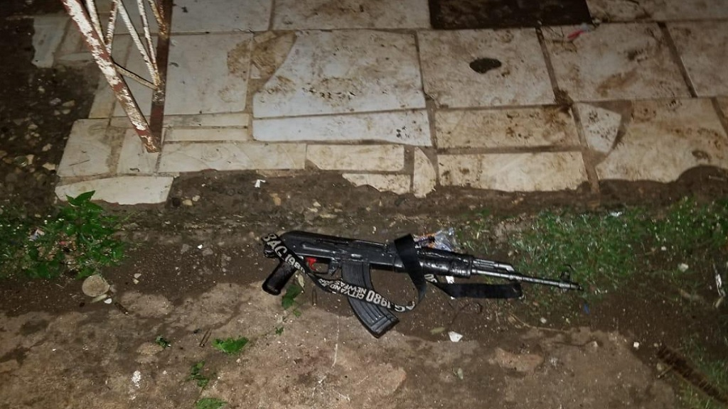 An AK-47 assault rifle that was reportedly seized along with two other high-powered guns during a joint police/military operation in Effortville, May Pen, Clarendon on Sunday morning, in which six alleged gunmen were shot dead.