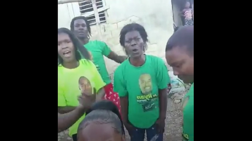 A screen grab from a video of a group of disgruntled Labourites protesting the removal of Dr Ryan Simpson as the Jamaica Labour Party's (JLP) candidate for South East St Ann.