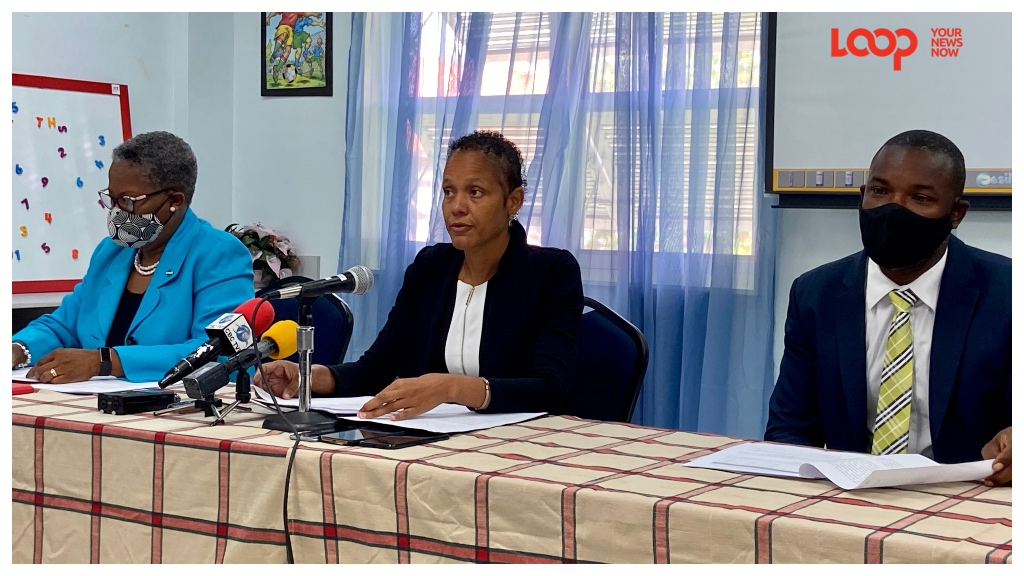 (Frome Left) Acting chief education officer Joy Adamson, Minister of Education Santia Bradshaw and parliamentary secretary Senator Dr Romel Springer.