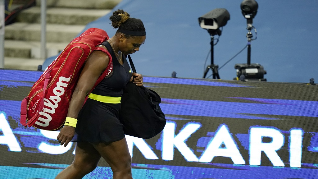 Serena Williams leaves the court after loosing her match to Maria Sakkari, of Greece, during the third round at the Western & Southern Open tennis tournament Tuesday, Aug. 25, 2020, in New York. (AP Photo/Frank Franklin II).