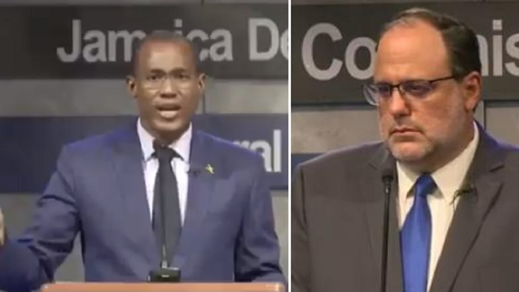 The JLP's Dr Nigel Clarke (left) and the PNP's Mark Golding faced off Thursday night.