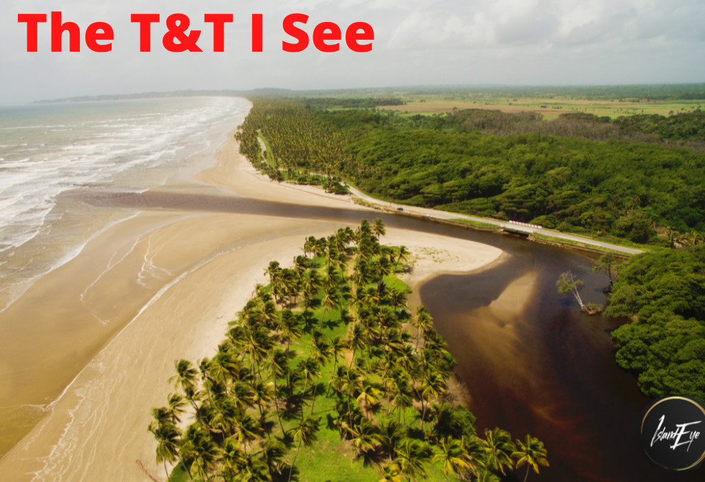 Aerial drone photo of the Nariva River mouth and the Manzanilla coastline. Photo by Candice Gray.