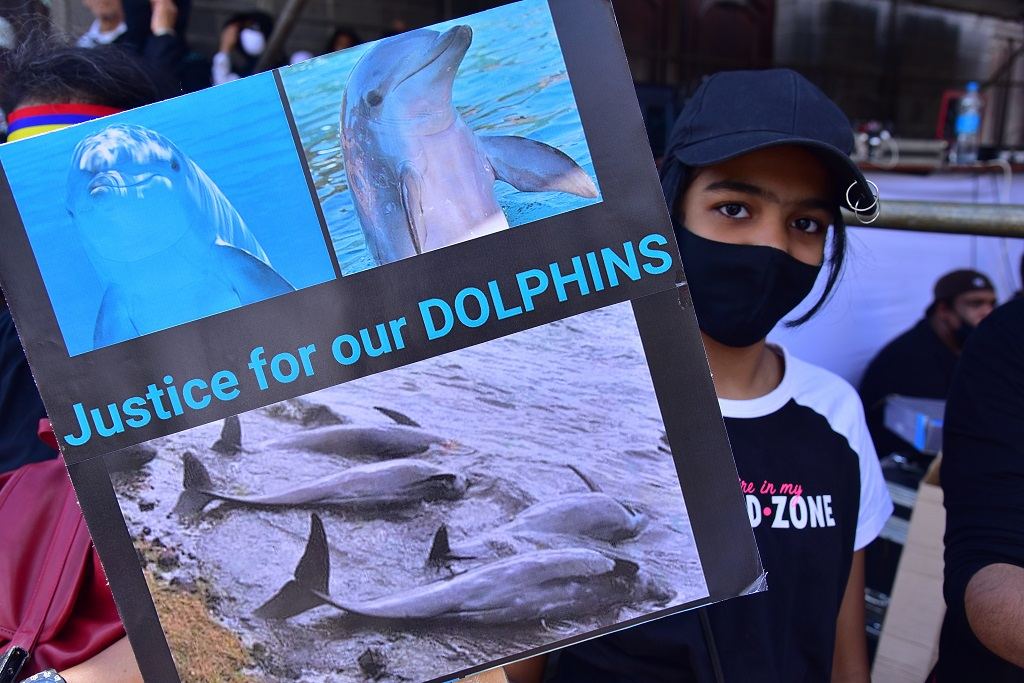 Tens of thousands of people protest in Port Louis, Mauritius, Saturday Aug. 29, 2020, over the government's slow response to an oil spill from a grounded Japanese ship and the alarming discovery of dozens of dead dolphins. (Beekash Roopun/L'express Maurice via AP)