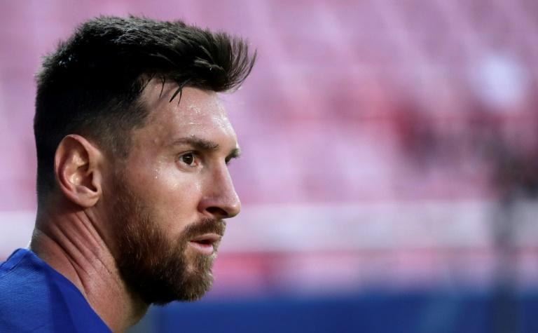 Lionel Messi lors de la très lourde défaite subie par le FC Barcelone face au Bayern Munich (8-2) lors des quarts de finale de la Ligue des champions, le 14 août 2020 à Lisbonne.