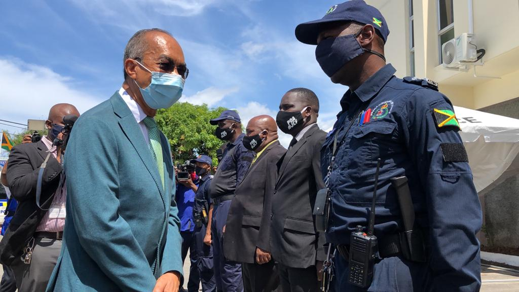 Minister of National Security, Dr Horace Chang inspects members of the Jamaica Constabulary Force during a tour of the Harman Barracks facility in St Andrew, on Tuesday.