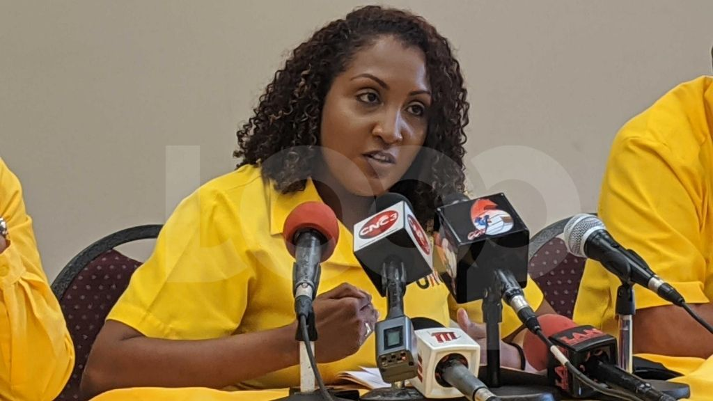 UNC PRO Anita Haynes speaks at a media conference on August 11, 2020. (Photo: Darlisa Ghouralal)