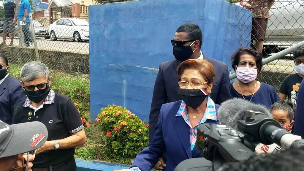 Pictured: UNC leader Kamla Persad-Bissessar speaks with reporters after casting her ballot at the Hermitage Presbyterian Primary School, La Romaine on August 10, 2020. Photo by Darlisa Ghouralal.