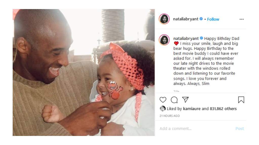 Kobe's daughter posts message to Instagram for her father's Birthday