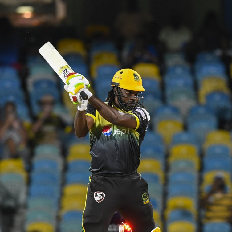 Chris Gayle went cheaply for 1 but the Jamaica Tallawahs beat the Barbados Tridents by five runs