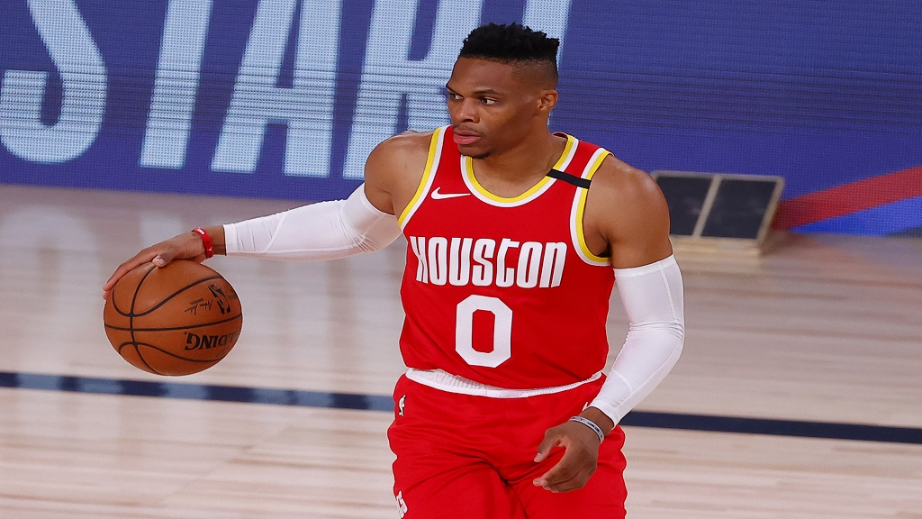 Houston Rockets' Russell Westbrook dribbles against the Portland Trail Blazers during the first half of an NBA basketball game Tuesday, Aug. 4, 2020, in Lake Buena Vista, Fla. (Kevin C. Cox/Pool Photo via AP).
