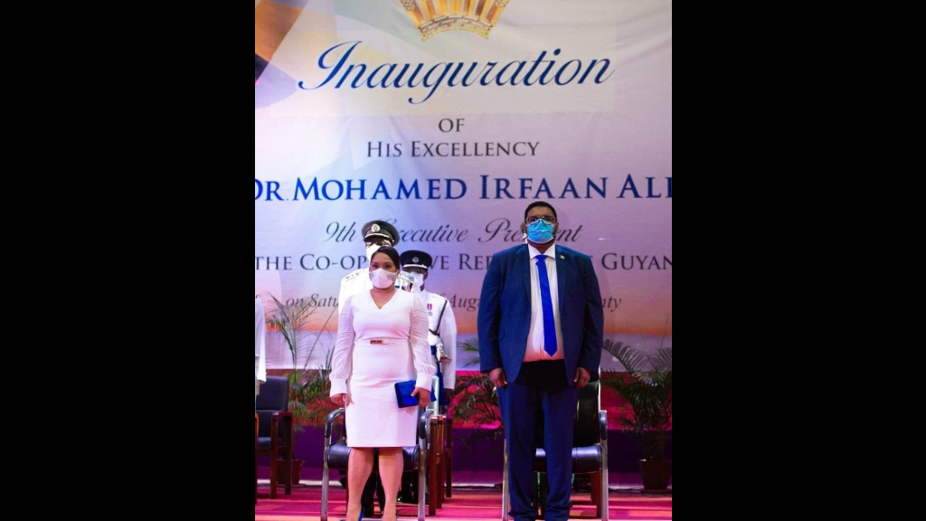 First Lady Arya Ali (left) and President Dr Mohammed Irfaan Ali at his inauguration on August 7. Photo: Department of Public Information-Guyana.