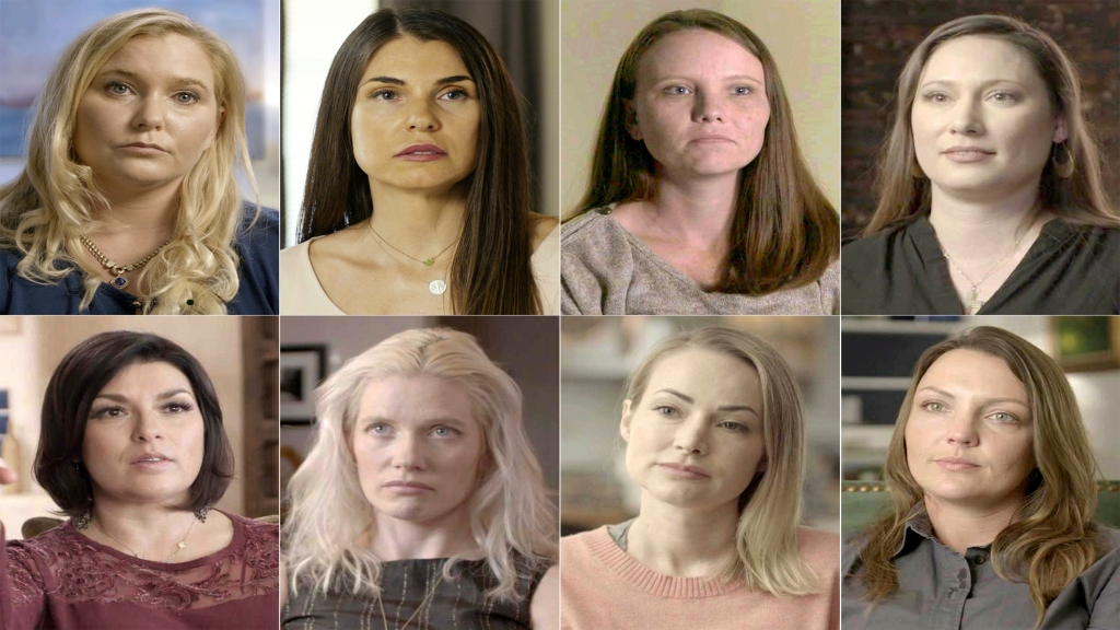 "This combination of photos released by Lifetime shows participants in the new docuseries ""Surviving Jeffrey Epstein"" top row from left, Virginia Roberts Giuffre, Teresa Helm, Jena Lisa Jones, Kiki, Rachel Benavidez, Marijke Chartouni, Chaunte Davies, and Courtney Wild. The series premieres on Sunday. (Lifetime via AP)"