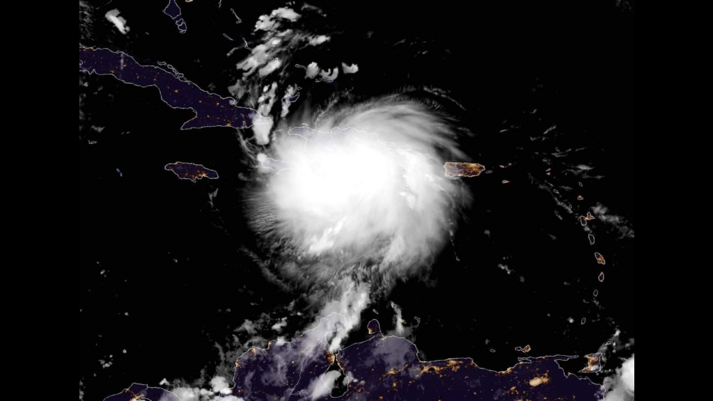 Tropical Storm Laura at 5 am AST. Photo: US National Hurricane Centre.