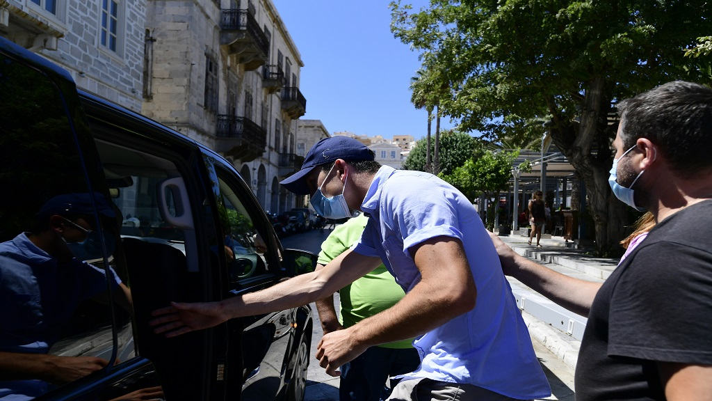 England football player Harry Maguire leaves a court building on the Aegean island of Syros, Greece, on Saturday, Aug. 22, 2020. The Manchester United captain was arrested during a brawl on the neighbouring holiday island of Mykonos. (AP Photo/Michalis Varaklas).