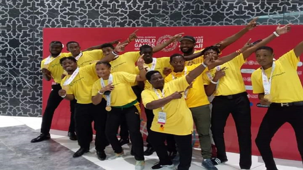 Victorious Special Olympics Jamaica champions pose with their medals during the 2019 Special Olympics World Games in Abu Dhabi.