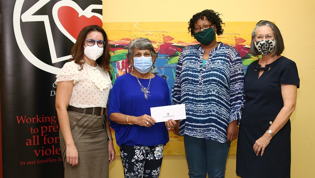 (L-R) Interim President of CADV, Carolyn Fifi; Team Lead Sandra Chin Yuen Kee; Treasurer of Myrtle's Place, Jadia Joseph; and Management Committee Member of The Shelter, Sherron Harford.