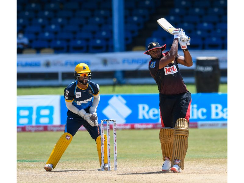 Kieron Pollard's brilliant 72 off 28 deliveries clinched a sixth straight victory for the Trinbago Knight Riders against the Barbados Tridents in Match 17 at the Queen's Park Oval on 29th August 2020. (Photo by Randy Brooks - CPL T20/Getty Images)