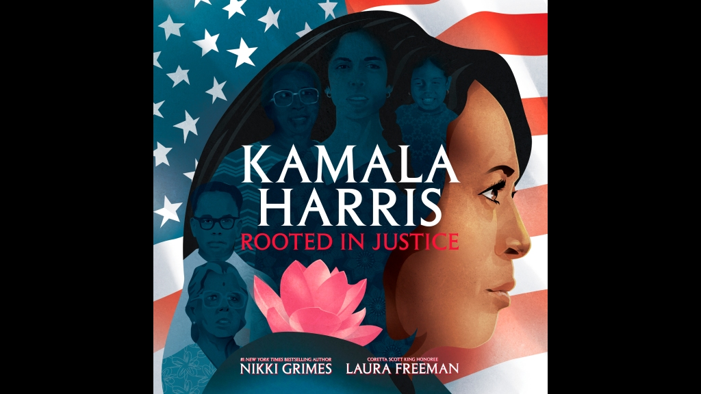 "This cover image released by Simon & Schuster Children's Publishing shows ""Kamala Harris: Rooted in Justice,"" by Nikki Grimes and illustrations by Laura Freeman available on Aug. 25. (Simon & Schuster Children's Publishing via AP)"