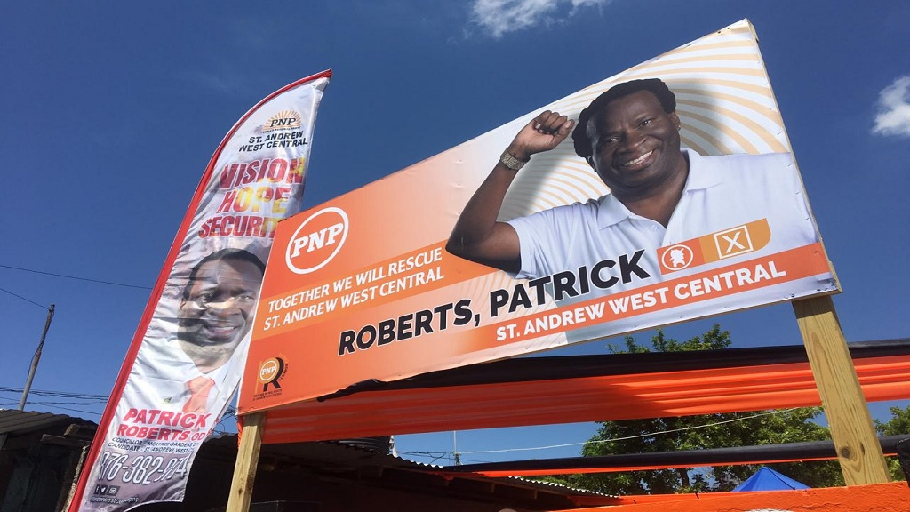 A billboard promoting People's National Party candidate for the West Central St Andrew constituency, Patrick Roberts. (Photo: Ramon Lindsay)