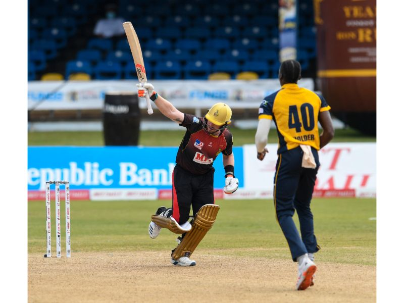 Trinbago Knight Riders Colin Munro attempts to hit a six off St Lucia Zouks Chemar Holder during Match 13 of the Hero Caribbean Premier League on Wednesday 26th August at the Queen's Park Savannah. (Photo by Randy Brooks - CPL T20/Getty Images)