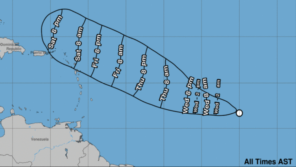 Arrival of tropical storm-force winds predicted by NHC