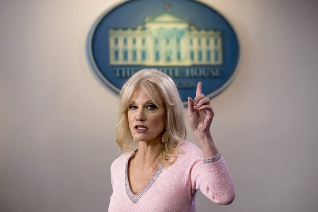 FILE - In this Dec. 5, 2019, file photo, Kellyanne Conway speaks in the Briefing Room at the White House in Washington. Conway, one of President Donald Trump's most influential and longest serving advisers, announced Sunday, August 23, 2020, that she would be leaving the White House at the end of the month.  (AP Photo/Andrew Harnik, File)