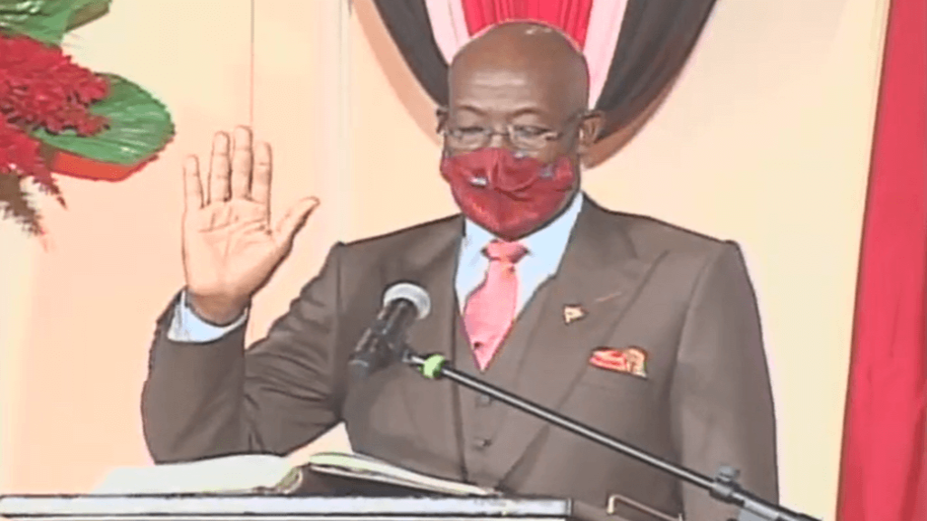 Pictured: Dr Keith Rowley is sworn in as Prime Minister for a second term on August 19, 2020.