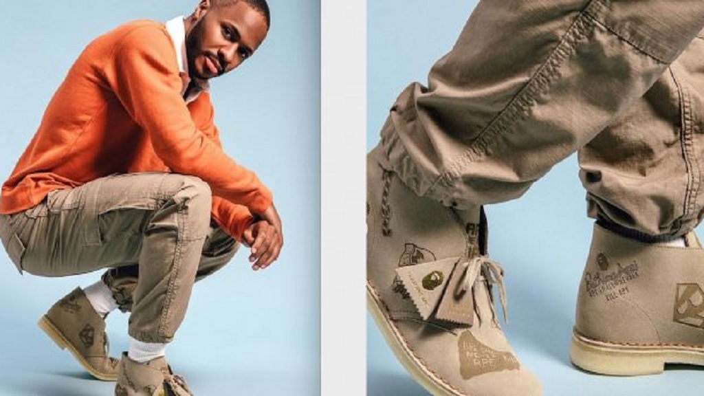 Raheem Sterling is the face for a Bathing Ape and Clarks Originals collaboration which features the Desert and Wallabees Clarks.