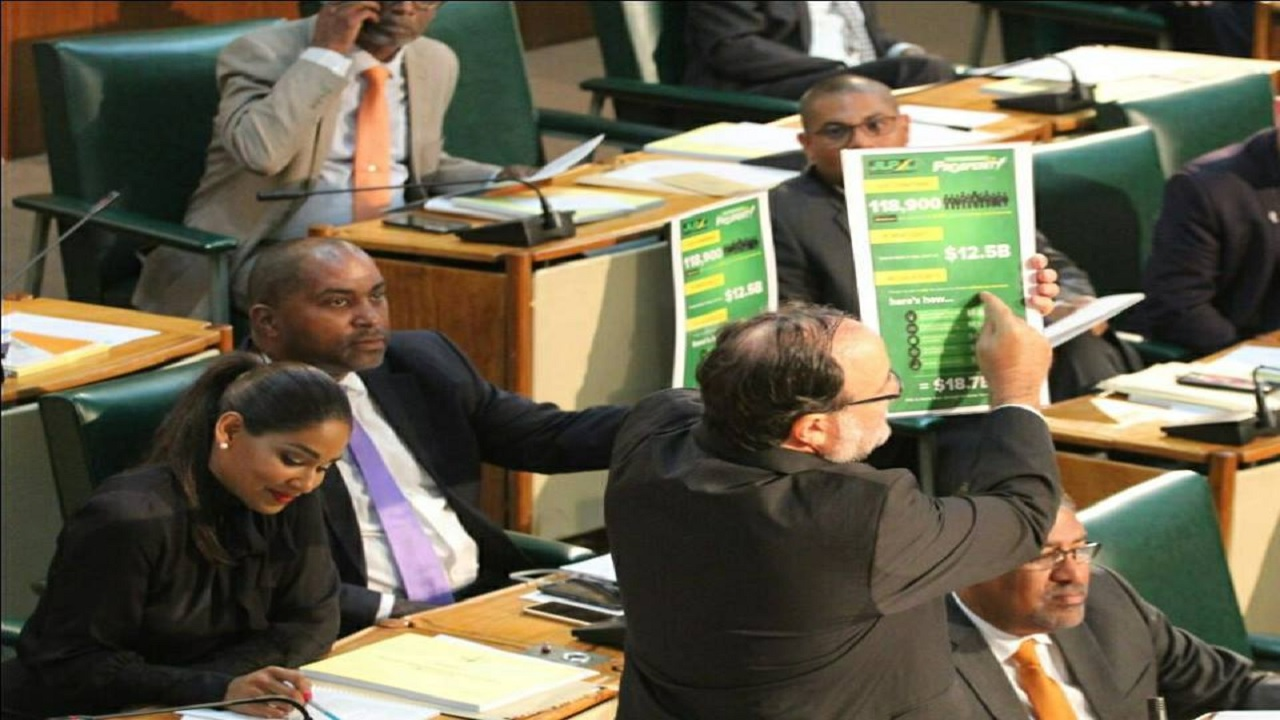 Mark Golding points to the JLP's tax plan during his budget presentation on Tuesday.