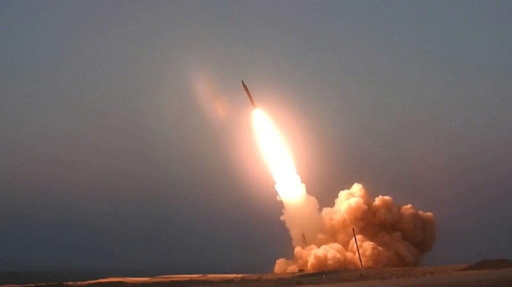 "This picture released by the official website of the Iranian Defense Ministry on Thursday, Aug. 20, 2020, is said to show the launching of the ""Martyr Hajj Qassem"" missile in an undisclosed location in Iran. Iran unveiled two new missiles on Thursday — National Defense Industry Day in Iran. (Iranian Defense Ministry via AP)"