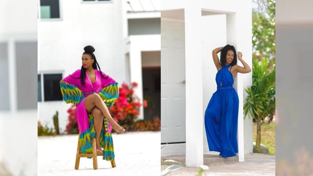 Stylist Kristia Franklin switches from wrap dress to jumpsuit as she explores Turtles' Nest Villa in Treasure Beach, St Elizabeth. (Photos: Contributed)
