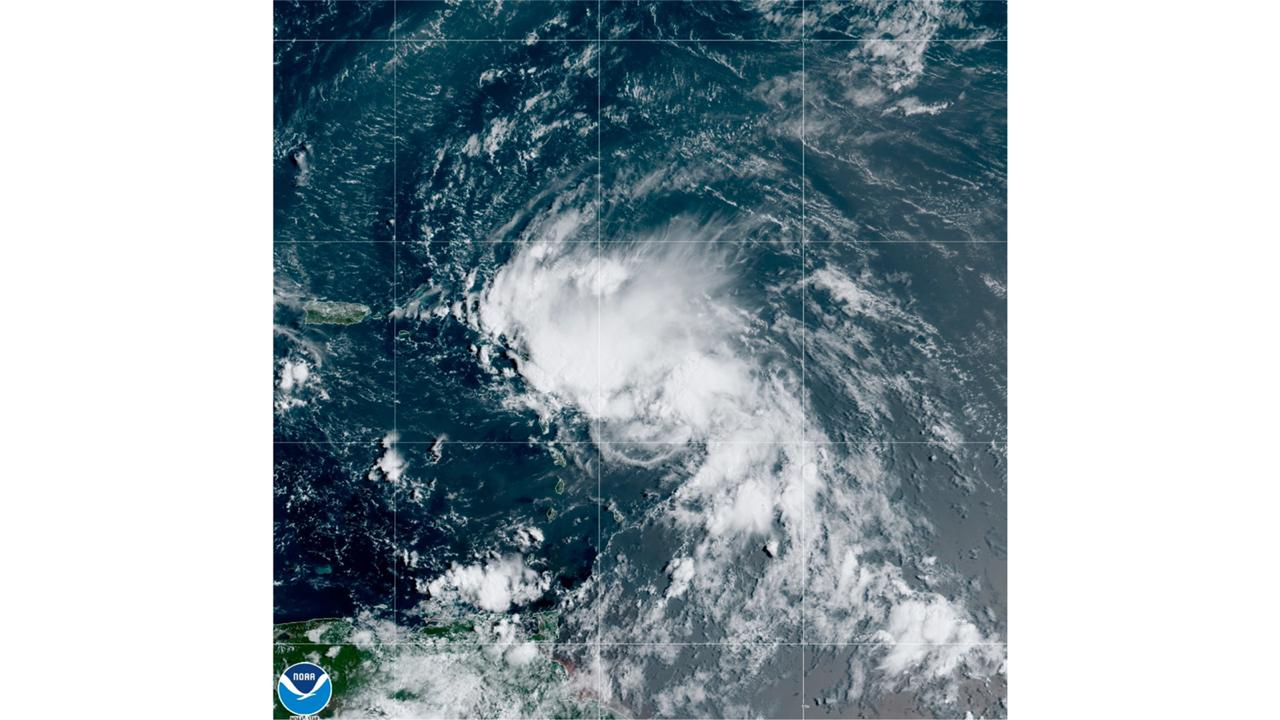 This satellite image released by the National Oceanic and Atmospheric Administration (NOAA) shows Tropical Storm Laura in the North Atlantic Ocean, Friday, Aug 21, 2020. Laura formed Friday in the eastern Caribbean and forecasters said it poses a potential hurricane threat to Florida and the US Gulf Coast. A second storm also may hit the US after running into Mexico's Yucatan Peninsula. (NOAA via AP) The Associated Press