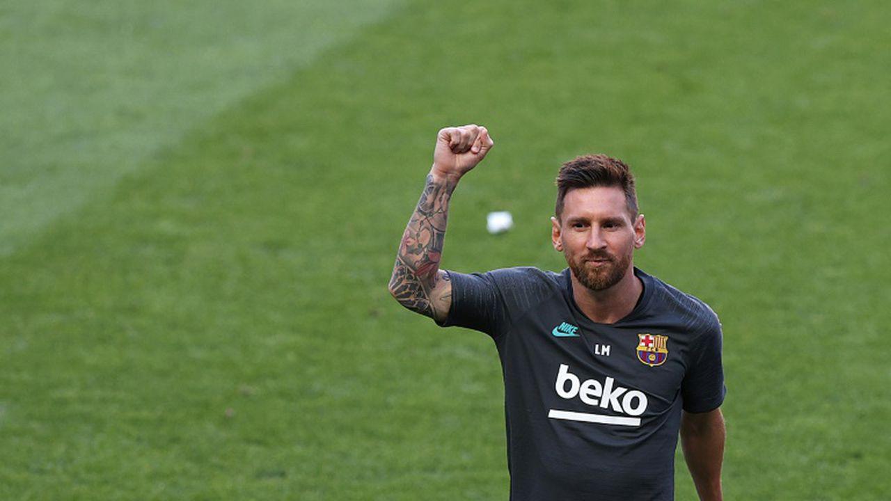 L'attaquant argentin de Barcelone, Lionel Messi, lors de l'entraînement de l'équipe à la veille du quart de finale de la Ligue des champions face au Bayern Munich, à Lisbonne, le 13 août 2020 (RAFAEL MARCHANTE)