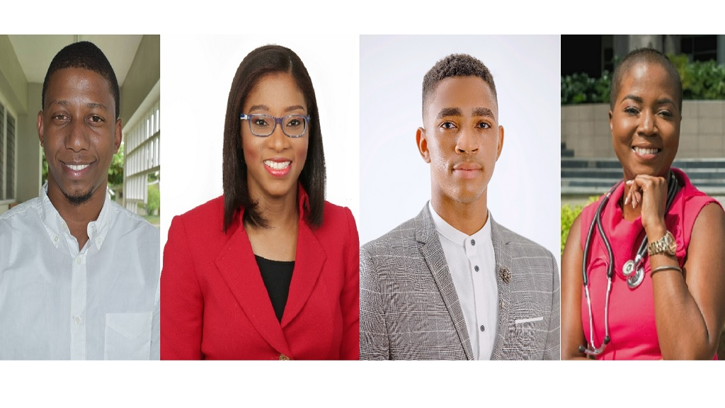 Four of the 14 Chevening scholars: (from left) Oshane Hamilton; Andrea Chisolm; Donald Mirander and JosanSutherland.